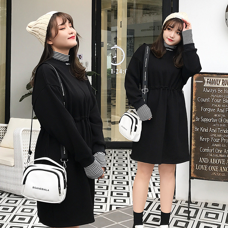 Large Size Dress Fat MM200 Jin Dress Stripes Half-Turtle-Neck Plus-sized Large GIRL'S Mid-length Skirt 826