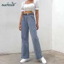 SUCHCUTE High Waist Jeans Women Wide Leg Pants Plus Size Punk Korean Style Trouser Casual Harajuku Female Joggers