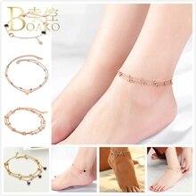BOAKO Stainless Steel Anklets For Women Rose Gold Heart Anklet Bracelet Beaded Chain Evil Eyes Bohemia Girl Foot Z5