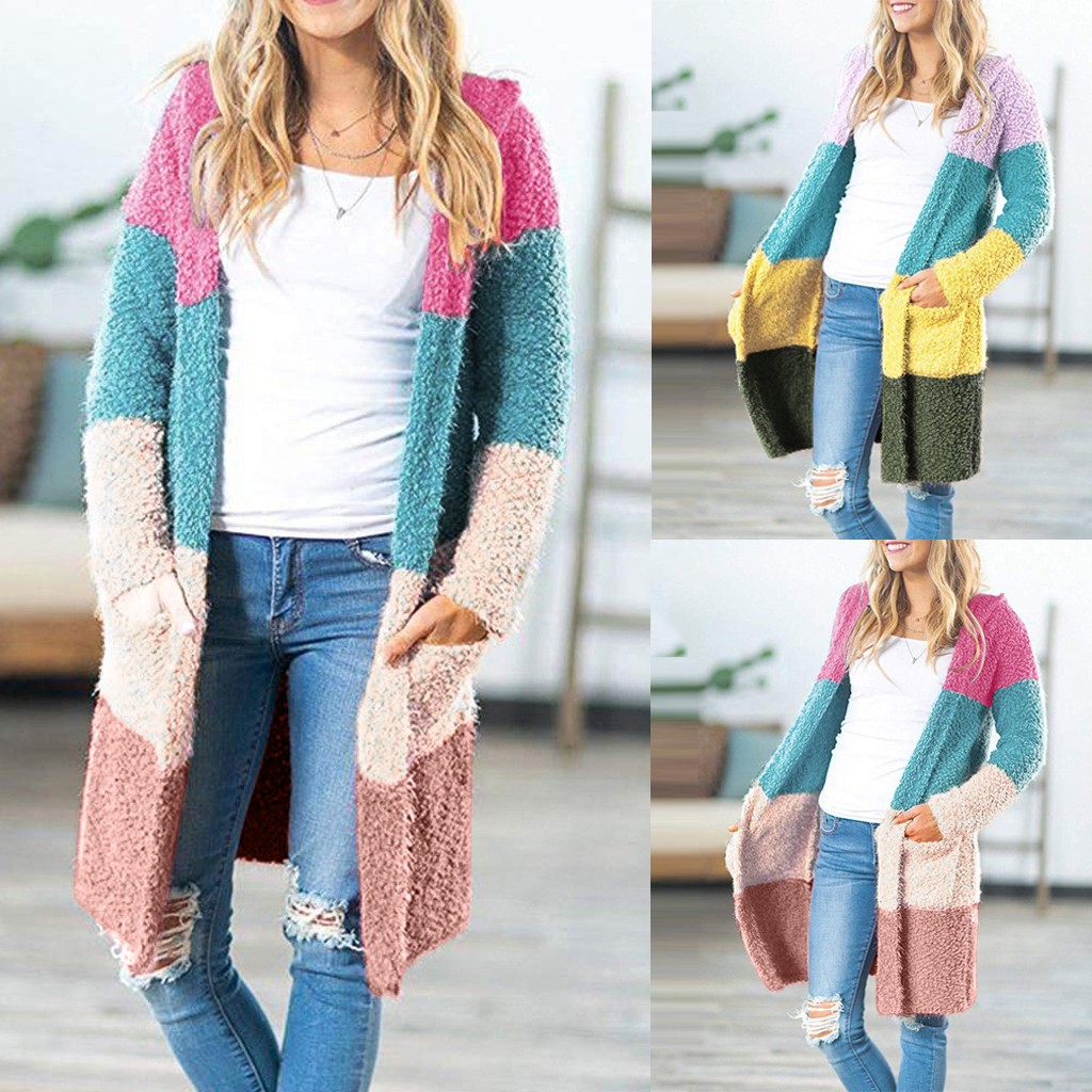 Cardigan Hooded Women Casual Long Sleeve Open Front