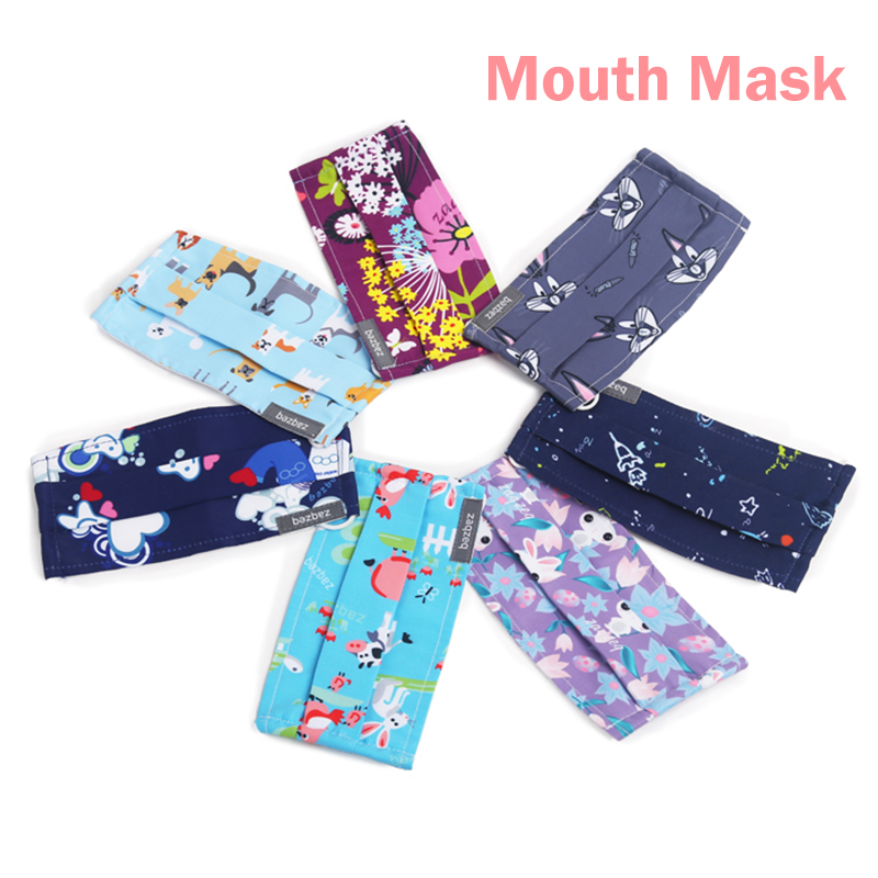 2pcs 17Colors Mouth Masks Work Masks Anti Dust Mask Mouth-muffle Wind Proof Print For Women 95% Polyester 5% Spandex Fabric Mask