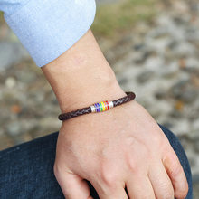 New Classic Style Wrap Leather Bracelet for Men Rainbow Copper Magnet Buckle Couples Wristband Gifts Jewelry(China)