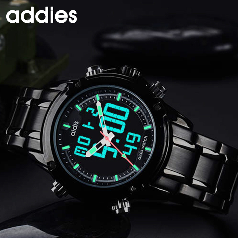 addies WatchMen Analog Digital Stainless Steel Strap Sports Watches Men's Army Military Watch Man Quartz Clock Relogio Masculino