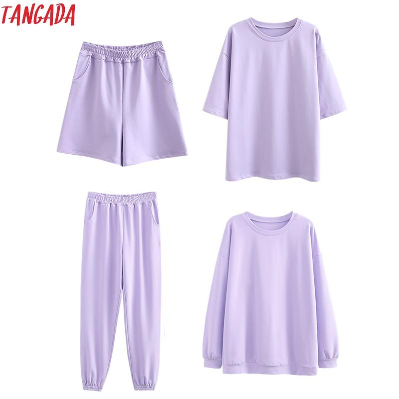 Tangada 2020 Autumn Women Terry 95% cotton suit oversized 4 pieces sets o neck hoodies sweatshirt shorts pants suits 6L30 1