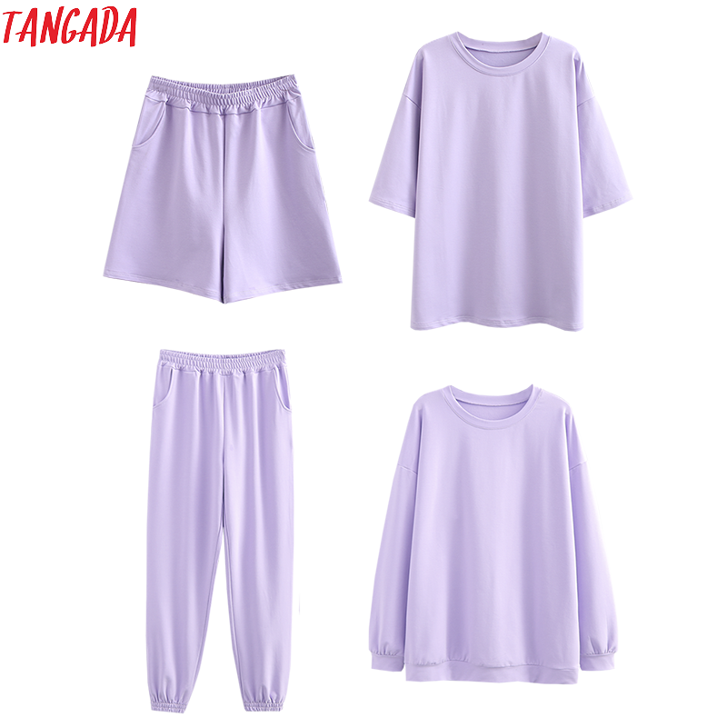 Tangada 2020 Autumn Women Terry 95% cotton suit oversized 4 pieces sets o neck hoodies sweatshirt shorts pants suits 6L30(China)