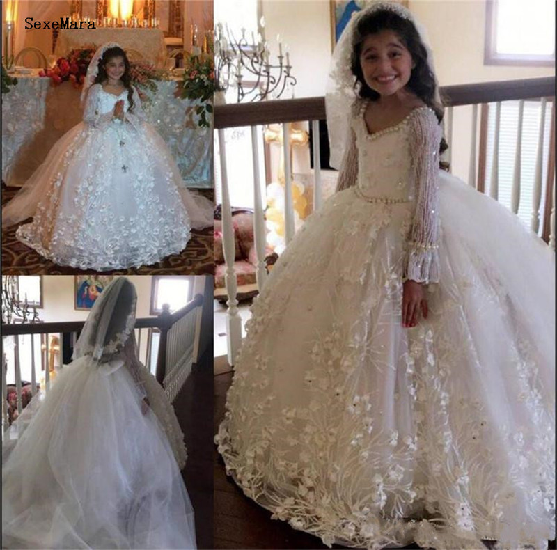 White Ivory Long Sleeves Girls First Communion Dress Puffy Tulle Lace Pearls Ball Gown Kids Clothes For Pageant Party Wedding