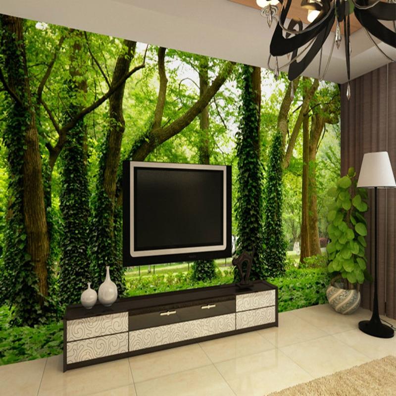 Dropship Photo Wallpaper Modern Simple Green Forest Nature Landscape 3D Panel Wall Mural Background Wall Home Decor Wallpaper