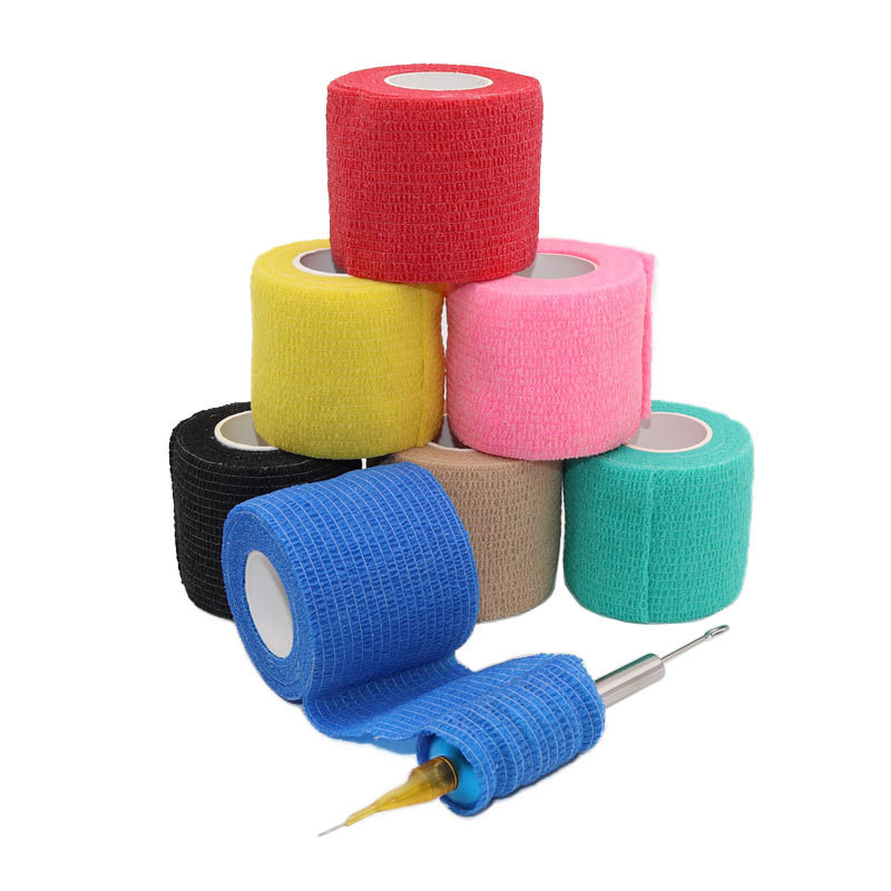 Disposable Self Adhesive Elastic Bandage For Handle With Tube Tightening Of Tattoo Accessories Random Color X1