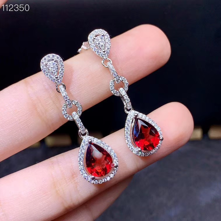 water drop style red garnet stud earrings for women jewelry real 925 silver natural gem good color girl birthday gift on sale