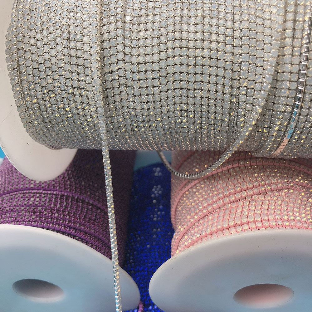Ss6 strass tasse kette opal farbige basis, mode DIY schmuck kristall trim zubehör, hohe qualität opal ei neue farben nähen auf