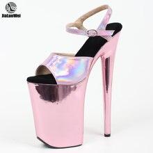 Jialuowei Босоножки на каблуке 9 дюймов розовые золотые хромированные