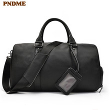 PNDME casual genuine leather men's black travel bag simple high quality cowhide large capacity luggage bag duffle bag handbags