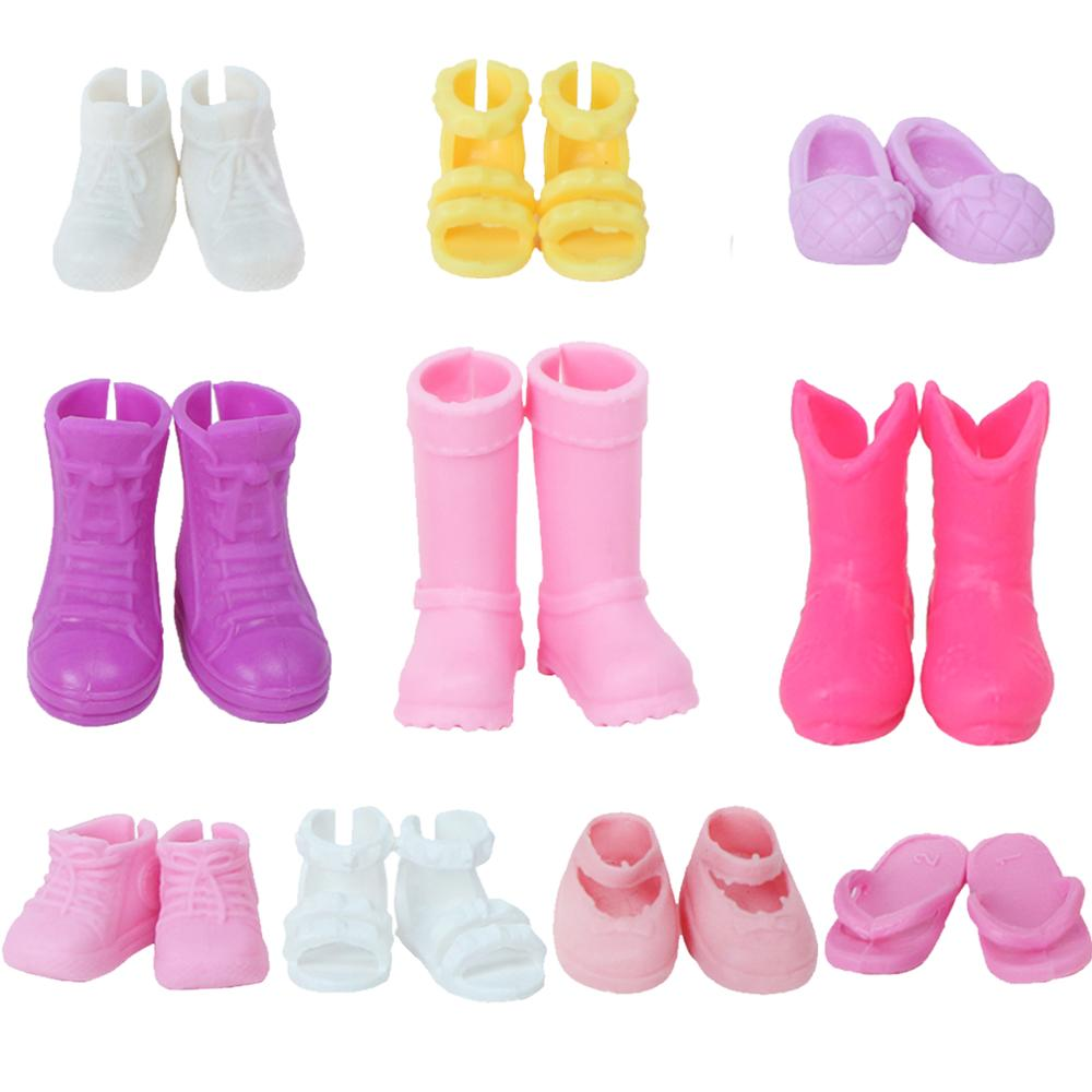 Mini 5 Pairs/Lot Cute Shoes Mixed Styles Colorful Sandals Boots Casual Dress Up For Barbie Sister Kelly Doll Clothes Accessories