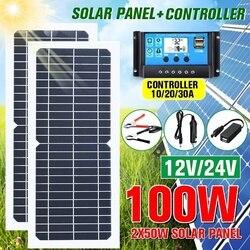جديد 100 واط/50 واط لوحة طاقة شمسية مرنة مع 10-30A 12 فولت 24 فولت تحكم شاحن سيارة ل RV قارب سيارة شاشة الكريستال السائل PWM تحكم
