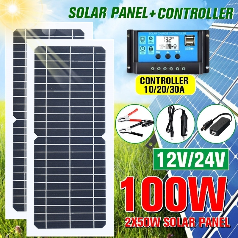 New 100W/50W Solar Panel Flexible With 10-30A 12V 24V Controller Car Charger For RV Car Boat LCD Display PWM Controller image