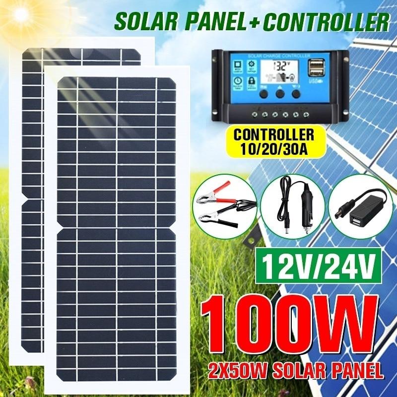Nouveau panneau solaire 100 W/50 W Flexible avec 10-30A 12V 24V contrôleur chargeur de voiture pour RV voiture bateau LCD affichage PWM contrôleur