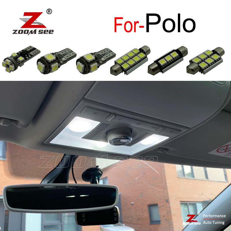 Perfect Canbus White LED Bulb Interior Dome Map + License Plate Light Kit For VW For Polo 6R 6C 9N 9N3 6N 6N1 6N2 (1994-2017)