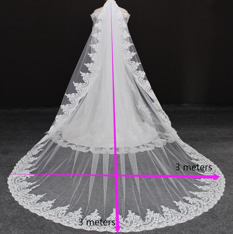 Cathedral Long Lace Wedding Veil with Comb One Layer High Quality 3 Meters Bridal Veil White Ivory Veil Voile Mariage