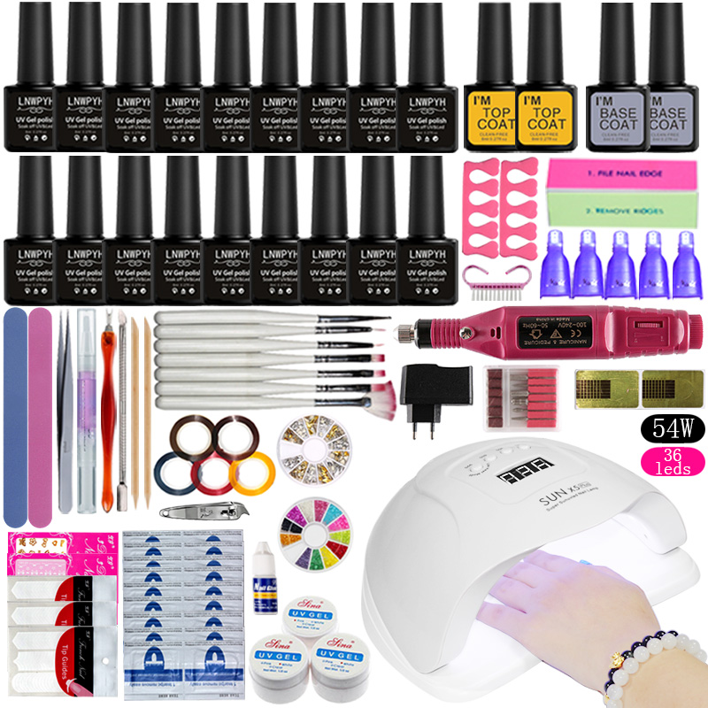 Nail Set UV LED Lamp Dryer With 18pcs Nail Gel Polish Kit Soak Off Manicure Tools Set Gel Nail Polish Kit For Nail Art Tools