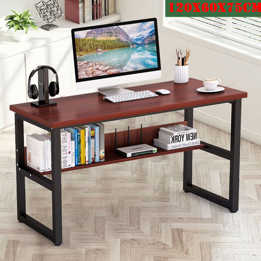 Computer Desk With Bookshelf Metal Office Desk, Home Office Desk With Storage Bookshelf Computer Desk Study Table Work Station