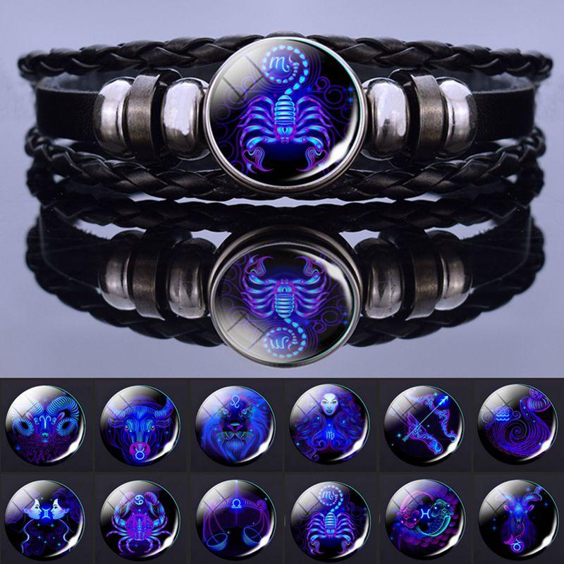 12 Zodiac Signs Constellation Charm Bracelet Men Women Fashion Multilayer Weave leather Bracelet & Bangle Birthday Gifts