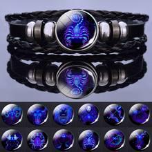 Bracelet en cuir tissé multicouche avec 12 signes du zodiaque, pour hommes et femmes, cadeaux d'anniversaire