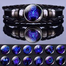 12 signos do zodíaco constellation charme pulseira masculina moda feminina multicamadas tecer pulseira de couro & pulseira presentes de aniversário