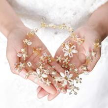 Модный кристалл жемчужный цветок Свадебная повязка ручной работы украшение для волос Тиара \ золото& серебро свадебные аксессуары для волос