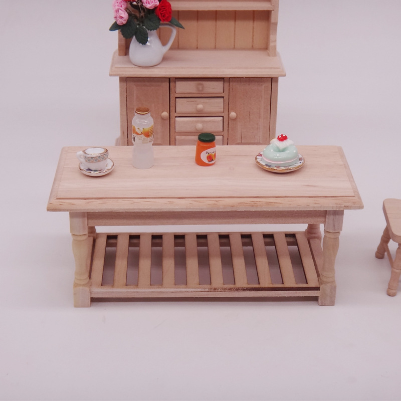 1/12 Mini 3D Wooden Puzzle DIY Building Model Toys Miniature Blank Tea Table Furniture Model DIY Dollhouse Accessory