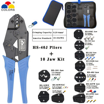 Crimping pliers HS-40J 8 jaw for plug/tube/insulation/non insulating/crimping cap/coaxial cable terminals kit 230mm clamp tools crimping pliers wire stripper multifunction tools hs 02h1 02h2 kit 10 jaw for insulation non insulation tube pulg pliers tools