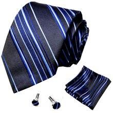 Классический мужской галстук 100% черный шелковый набор запонок