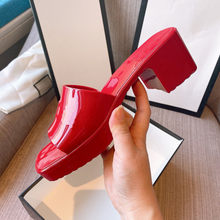 2021 Summer New PVC Slippers for Women Fashion Square Toe High Heels Sandals Ladies Shoes Casual Beach Jelly Slippers 35-41