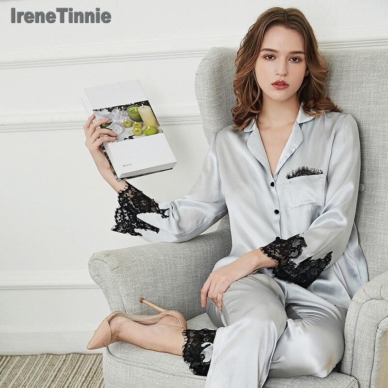 Женский пижамный комплект из 100% натурального шелка, 2020, однотонная Шелковая пижама Mujer, пижама для сна, ночная рубашка, чистый шелк, пижамный