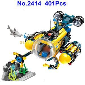 401pcs city diving spar shark mining drilling machine submarine 3 building blocks Toy