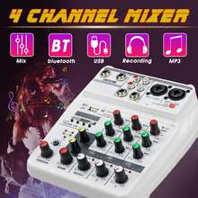4 Kanalen Geluidskaart Mixing Console Digitale Bluetooth Audio Mixer MP3 Usb Input 48V Phantom Power Studio Muziek Opname(China)