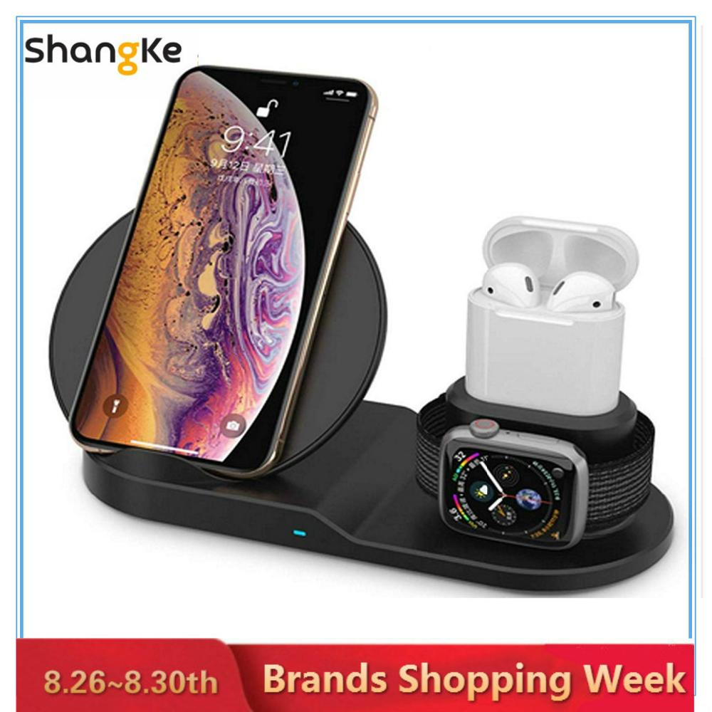 Wireless Charging-Stand Dock Airpods Apple-Watch Black 3-In-1 for Fast