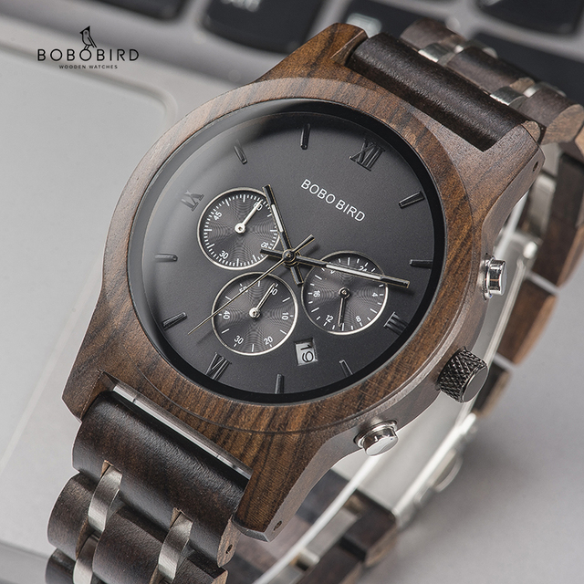 BOBO BIRD Wood Watches Men Business Luxury Stop Watch Color Optional with Wood Stainless Steel Band Gift Box relogio masculino