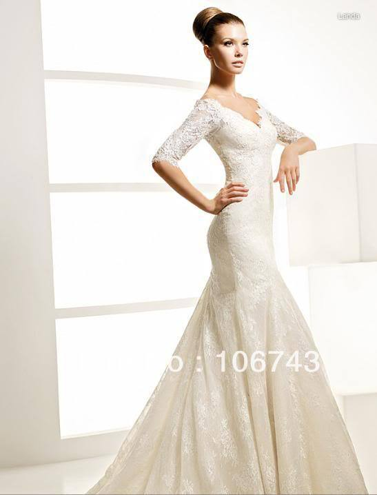 2020 Natural Floor-length Trumpet Free Shipping New Style Best Seller Sexy Bride Custom Size Half Embroidered Lace Wedding Dress