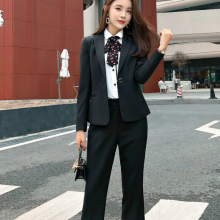 Ladies black suit 2019 autumn new temperament lady business office jacket female Fashion trouser Two-piece overalls
