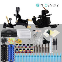 Complete Tattoo Kit Rotary Tattoo Machine Set 10 Coils Wraps Machine LCD Power Supply Permanent Makeup 10 Colors Tattoo Ink Set