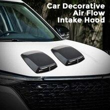1 Uds coche Universal decoración de campana de cuchara de entrada de flujo de aire respiradero de capó tipo Turbo cubierta de plástico ABS de 12,8*9,8*2 pulgadas estilo de coche