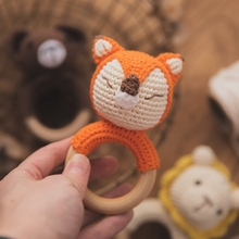 1 Pcs Wood Animal Fox Crochet Teether Toys For Baby 0 12 Months Montessori Wooden Teething Rodent Ring Stroller Educational Toy