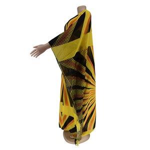 Image 4 - Voan Màu Vàng Châu Phi Váy Đầm Cho Nữ Châu Phi Quần Áo Hồi Giáo Dài Đầm Chất Lượng Cao Chiều Dài Thời Trang Châu Phi Đầm Cho Nữ