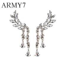 Korean Crystal Long Chain Earrings Women's Angel Wings Drop Earrings Rhinestone Inlaid Alloy Ear Jewelry Party Prom Jewelry Gift(China)