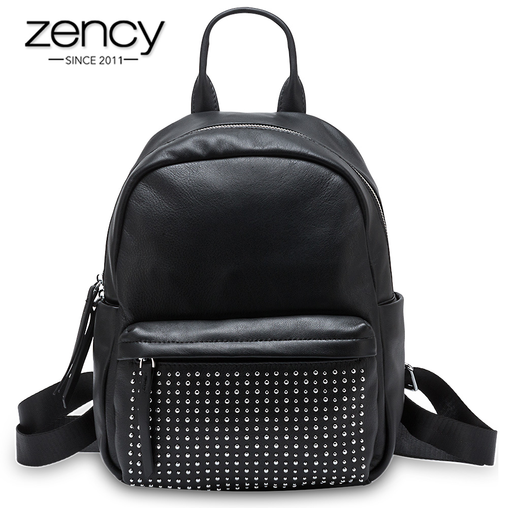 Zency 100% Genuine Leather Fashion Women Backpack With Rivets High Quality Lady Travel Bags Student's Schoolbag Knapsack Black