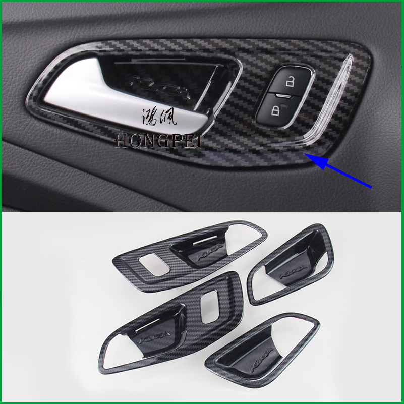 For Ford 2013-2019 Escape Kuga Interior Door Handle Bowl Frame Cover Sticker Sequins Trim Auto Parts Car styling Accessories