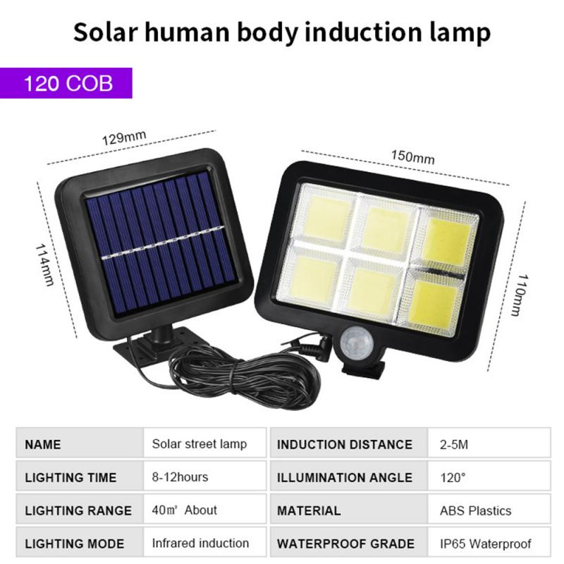 COB 120LED Solar Lamp Motion Sensor Waterproof Outdoor Path Night Lighting Support Outdoor Wall Spotlights Dropship Wall Lamp