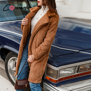 Image 5 - Conmoto Frauen Winter Wildleder Jacke 2019 Mode Teddybär Karamell Langen Mantel Weibliche Lange Hülse Faux Pelzmantel Flauschigen Oberbekleidung
