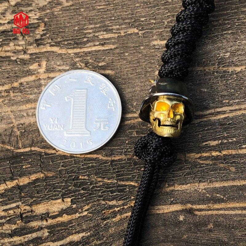 1 pièces 925 argent laiton crâne couteau perles à la main EDC parapluie corde couteau perles collier tête pendentif crâne peut être actif - 6