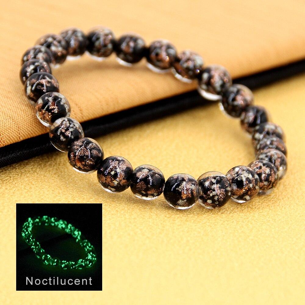 Women's Bracelet Glow in the dark Crystal ball luminous bracelet stones glass beads charm Women jewelry gifts girls Dropshippin